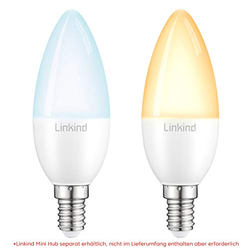 Linkind Smart E14 LED Kerze Lampen, via App steuerbar Farbtemperatur (2700k-6500k) Helligkeit (1%-100%), Linkind Hub&APP erforderlich damit Alexa Kompatibel, Doppelpack