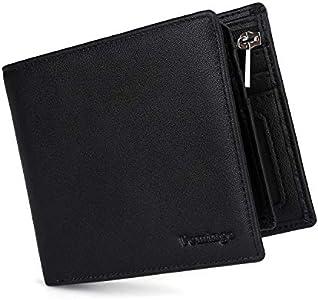 Vemingo Carteras para Hombre con Bolsillo de Moneda/Monedero con RFID Bloqueo para Tarjetas de Crédito Portamonedas Ligeros para Hombre/Adolescente (Xb-037 Negro)