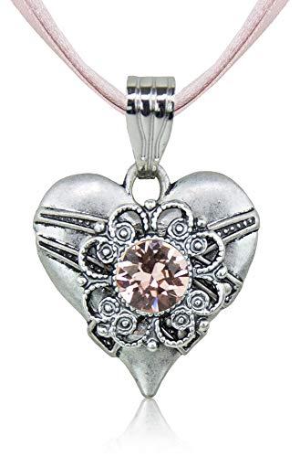 LUISIA® Halskette Paula mit Herzanhänger und Kristall von Swarovski® - Altrosa - Collier Damen Halsschmuck Satin Strass
