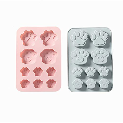 YILANS Bakvormen, Puppy Voetafdruk Siliconen Taartvorm 1 Kat Klauw Handgemaakte Zeep Mold Hoge Temperatuur Koude Zeep Vaste Voedselvorm, Makkelijk schoon te maken (2 Pack)
