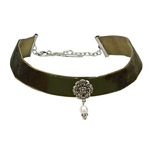 Alpenflüstern Trachten-Samt-Kropfband Frida mit Ornament und Perle Trachtenkette enganliegend, Kropfkette elastisch, Damen-Trachtenschmuck, Samtkropfband breit grün DHK168