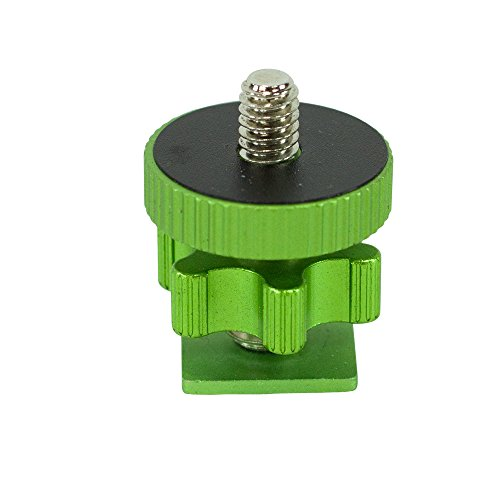 """Cam Caddie Flashner ¼"""" – 20 inch Tripod Screw to Hot/Cold Shoe Adapter/Flash Converter - Standard Quarter Twenty Threaded Post Made from High Strength Steel and Aluminum (Green)"""