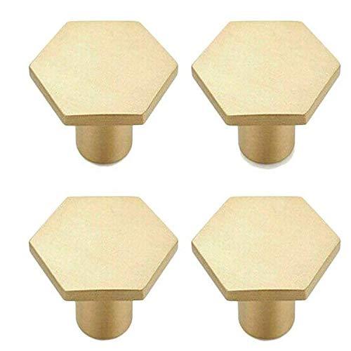 YOUNICER Schubladenknöpfe aus massivem Messing, sechseckig, für Schrank, Tür, Schrank, Schublade, 4 Stück
