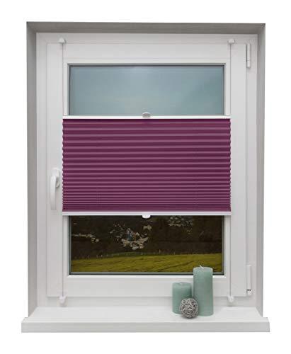 Beyond Drape Plissee Lila 90x130 cm verspannt ohne Bohren Klemmträger bis 27mm Fertigplissee Sichtschutz