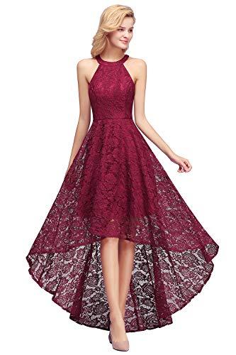 MisShow Damen Brautjungfernkleid für Hochzeit Ärmellos Pinup Kleid Abendkleid Einfarbig weinrot 42