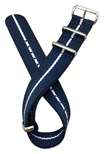 22mm Navy Blue/Blue/White Watch Band | Vintage, Military Style Watch Strap, Nylon Fabric Replacement Wrist Band that brings New Life to Any Watch (For Men and Women)