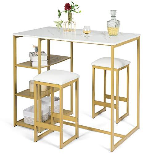 COSTWAY 3tlg. Küchenbar, Esstisch mit 2 Stühlen, Sitzgruppe Küche, Balkonset für 2 Personen, Essgruppe (golden)
