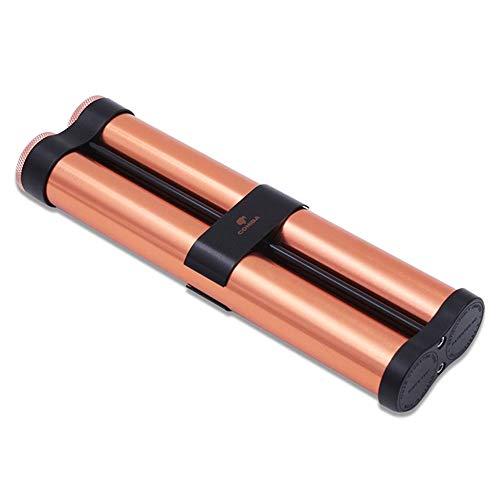 QINJLI Tubo de Metal Hidratante Puro, portátil de Viaje Caja de cigarros, Doble Tubo de la Caja de cigarros con humidificador Incorporado (Color : Gold)