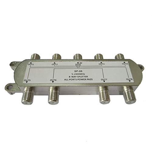 Monllack Divisor de señal satelital, Sp-08 Divisor satelital de señal de 8 vías TV Antena RF Divisor de Cable coaxial Venta al por Mayor Caliente Durable (Plata)