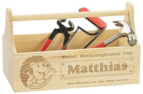 LAUBLUST Große Kinder-Werkzeugkiste Laubi Motiv - Personalisiert mit Individueller Wunsch-Gravur - 34x18x20cm, Natur, FSC® | Geschenkkiste inkl. Kinder-Werkzeuge | Aufbewahrungskasten | Spiel-Kiste