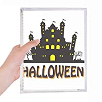 ハロウィンの明るく照らされた城 硬質プラスチックルーズリーフノートノート