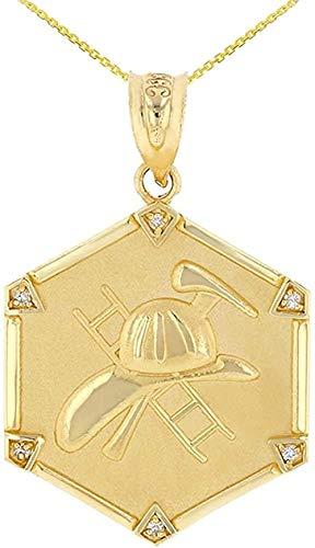 NC110 Pendant necklace 14 ct Golden Firefighter Hexagon Diamond Pendant YUAHJIGE