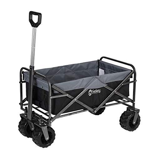 Sekey Updated Version Folding Wagon Cart Collapsible Outdoor Utility Wagon Garden Shopping Cart...