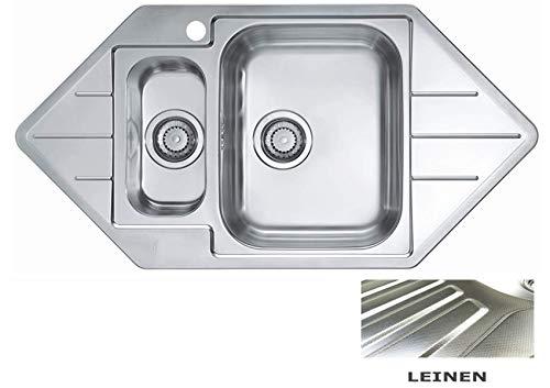 VBChome: Eck-Einbauspüle Links Leinen mit Hanhloch 985 x 500 mm 1,5 Becken Camping Küchenspüle - Alveus Line 40 Spülbecken EDELSTAHL Küchenspüle Eckspüle Ablaufgarnitur