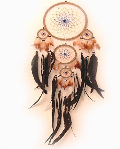 Traumfänger mit echten Federn (Dreamcatcher) farbig - 22 cm Durchmesser - 70 cm Länge