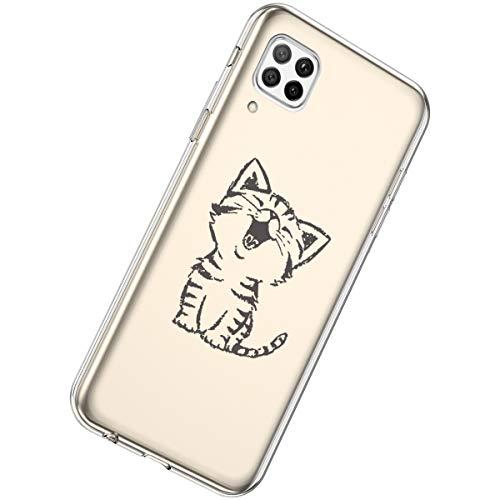 Herbests Kompatibel mit Huawei P40 Lite Hülle Silikon Weich TPU Handyhülle Durchsichtige Schutzhülle Niedlich Muster Transparent Ultradünn Kristall Klar Handyhülle,Lachende Katze