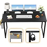 CubiCubi Computer Desk 32' Study Writing Table for Home Office, Industrial Simple Style PC Desk, Black Metal Frame, Rustic
