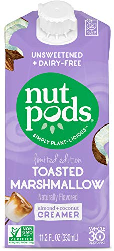 nutpods Toasted Marshmallow, (12-Pack), Unsweetened Dairy-Free Liquid Creamer, Made from Almonds and Coconuts, Whole30, Gluten Free, Non-GMO, Vegan, Kosher