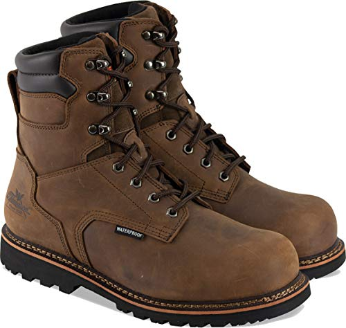 """Thorogood 804-3237 Men's V-Series 8"""" Waterproof, Composite Safety Toe Boot, Brown Crazyhorse - 9.5 W US"""