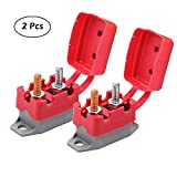 Ampper DC 12V - 24V Automatic Reset Circuit Breaker with Cover Stud Bolt for Automotive and More (30A, 2Pcs)