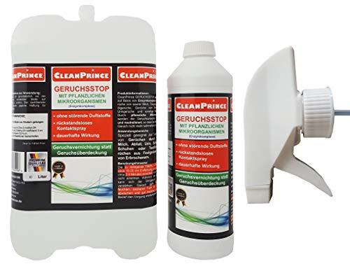 2,5 Liter GERUCHSSTOP MIT MIKROORGANISMEN von CleanPrince. Sie erhalten 2 Liter im Nachfüllkanister und 500 ml in der Sprühflasche. Speziell geeignet zur Vernichtung von Gerüchen durch Heizöl, Milch, Abfall, Urin, Schweiß in Schuhen oder Textilien, Gerüchen aus Faulgruben sowie von Erbrochenem. CleanPrince GERUCHSSTOP neutralisiert auf Basis von Enzymkomplexen üble Gerüche von saurer Milch, Tiergerüche, Heizölgerüche, Gerüche von Erbrochenem, Uringerüche und sonstige Störgerüche.
