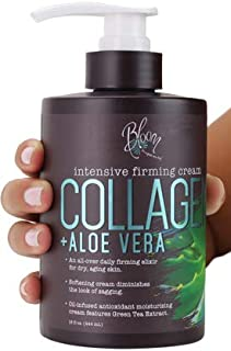 Bloom Collagen Firming Cream for Body and Face. Intensive moisturizer with Aloe Vera, and Green Tea extracts for sagging, ...