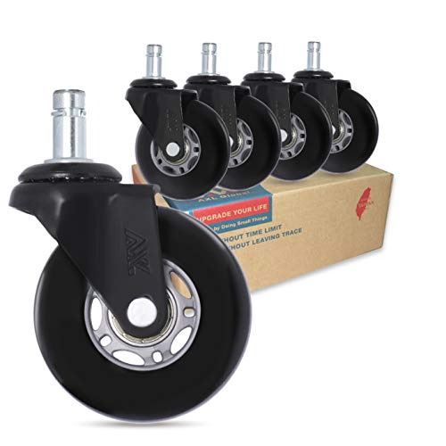 Rollerblade Office Chair Caster Wheels Replacement, 2.8 inch Heavy Duty Casters, Safe for All Floors Including Hardwood and Tile, Set of 5 (Grey/Black)