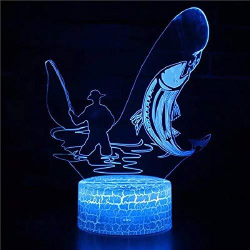 Angler Cool Crack Base Night Light USB Multicolor 3D Lámpara de mesa pequeña de acrílico