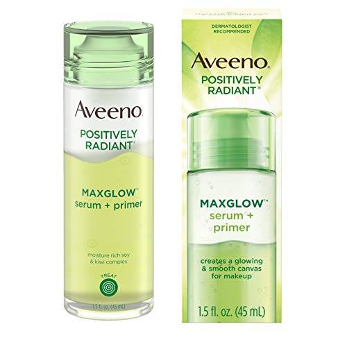 Aveeno Positively Radiant MaxGlow Hydrating Face Serum + Primer with Moisture Rich Soy & Kiwi Complex, Hypoallergenic, Non-Comedogenic, Paraben- & Phthalate-Free, 1.5 fl. oz
