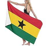 asdew987 Flagge von Ghana Strandtuch, Badetuch, Badeset, Badetuch Zubehör, Pooltuch, Reise- & Badetuch 80 x 130 cm