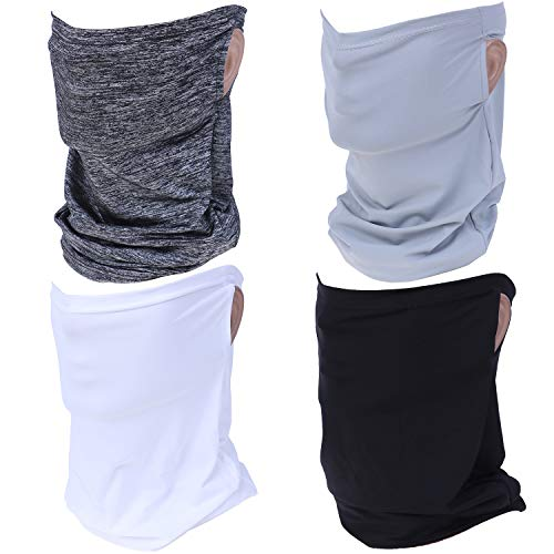 4 Pieces Summer UV Protection Face Protection with Ear Hole Neck Gaiters Freezer Summer Bandana, 4 Colors