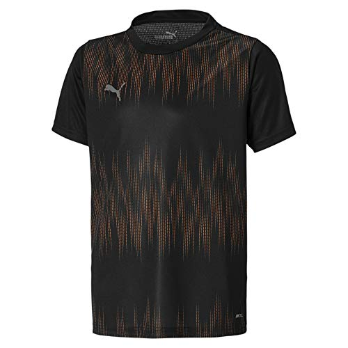 PUMA Uni T-Shirt ftblNXT Graphic Core Jr, Puma Black-Shocking Orange, 176, 656831