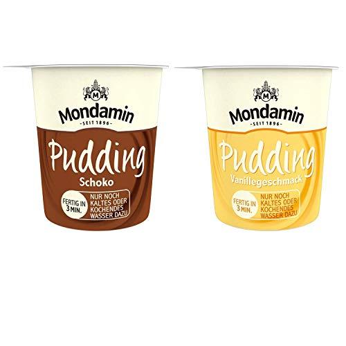 Mondamin Pudding Snack Becher Set mit den Varianten Schokolade (4 Stück, 54g) und Vanille (4 Stück, 52g), perfekt als Nachspeise, glutenfrei und vegetarisch - (8er Pack)