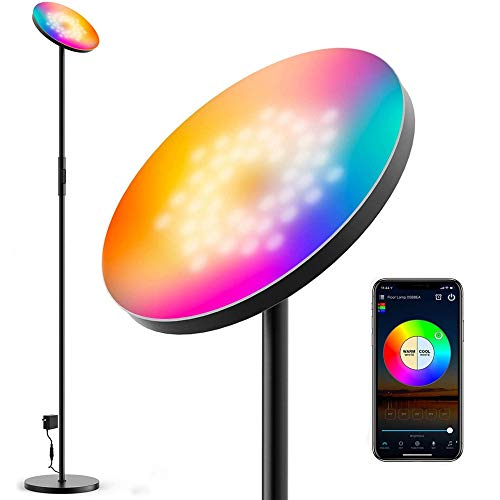 ZRZJBX LED Lámpara de Pie Regulable, WiFi Inteligente Luz De Pie Salon Multicolor, con Smartphone Alexa Google Assistant, LáMpara De Pie para Sala De Estar, Oficina, Dormitorio