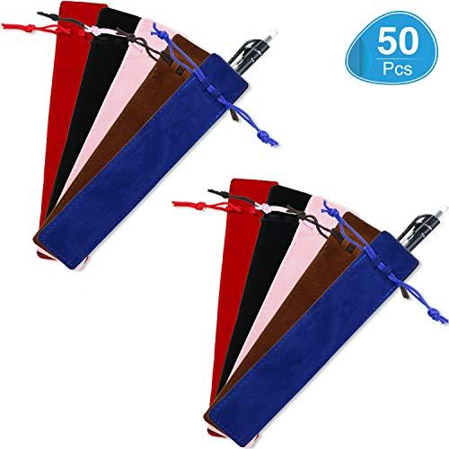 50 Pieces Pen Pouch Velvet Drawstring Pen Bag Velvet Case Pencil Bag for Pen and Pencil (Multicolor)