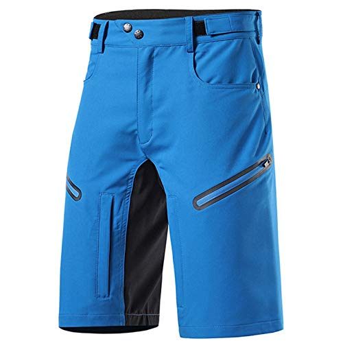 Pantalones de Ciclismo para Hombre, Pantalones Cortos de Descenso de MTB Ligeros y Delgados Transpirables Impermeables de Secado Rápido Pantalones de Ciclismo,Light Blue,XXL