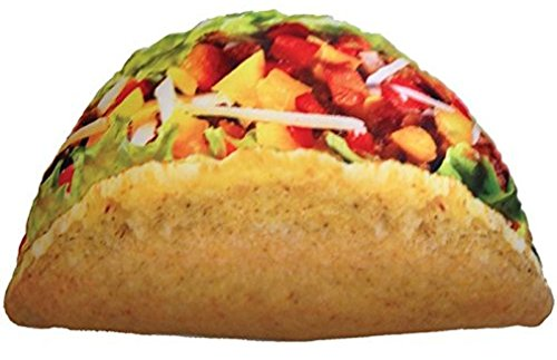 iscream Snack Shack Photoreal Taco Shaped 20' x 12' Microbead Accent Pillow