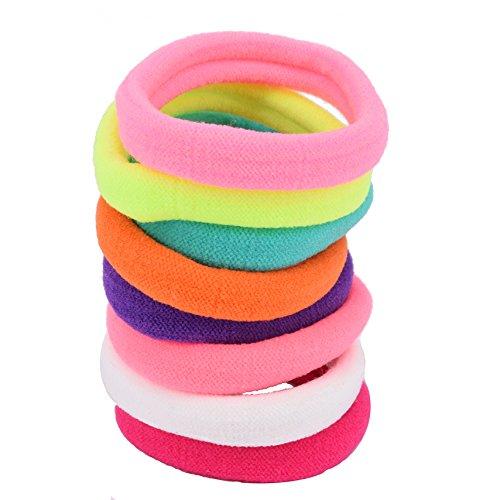 CRAZYCHIC - Lot d'élastiques mousse à cheveux couleurs assorties Fluo - 8 pcs