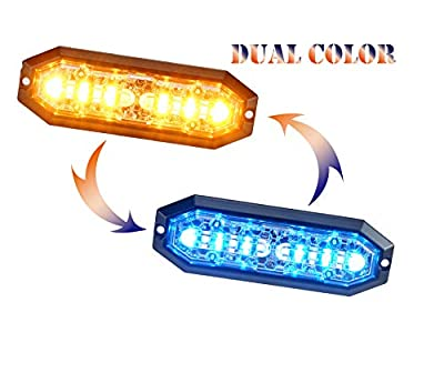 Unicorn Lighting UT01 Surface Mount Warning Emergency Strobe Grille Light Head [SAE class 1] [Dual Color] [IP68] for Police and Tow Truck Construction Vehicle Amber Blue