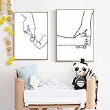 Mom & Baby Hands Line Art Prints Newborn Black White Family Love Poster Arte de la pared Pintura en lienzo Nursery Kids Room Decor 70x100cmx3 Sin marco