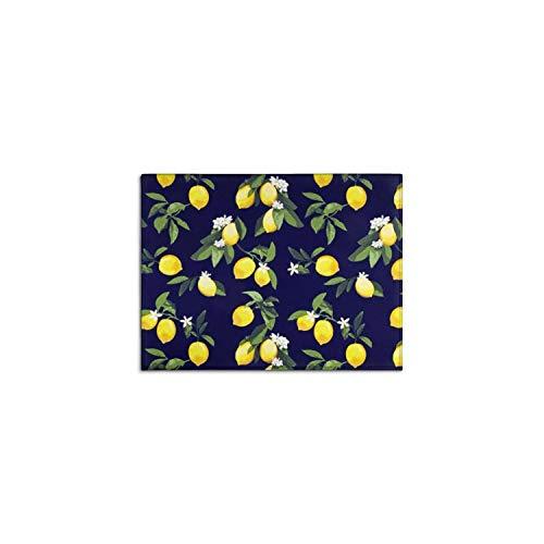 Demvemin 2 PCS Kitchen Rugs and Mats Non Skid Washable, Soft Super Absorbent Lemon Navy Kitchen Mat Doormat Carpet Bathroom Runner Set