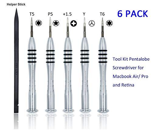 Kalanution 6 Pieces Tool Kit Pentalobe Screwdriver for MacBook Air/Pro and Retina