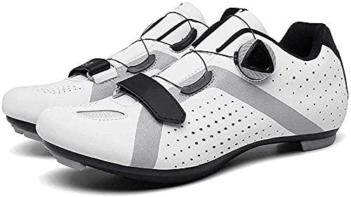 KUXUAN Zapatos de ciclismo para hombre, zapatos de ciclismo para mujer, zapatos de bicicleta de montaña, zapatillas de ciclismo, blanco-42EU=(260mm)