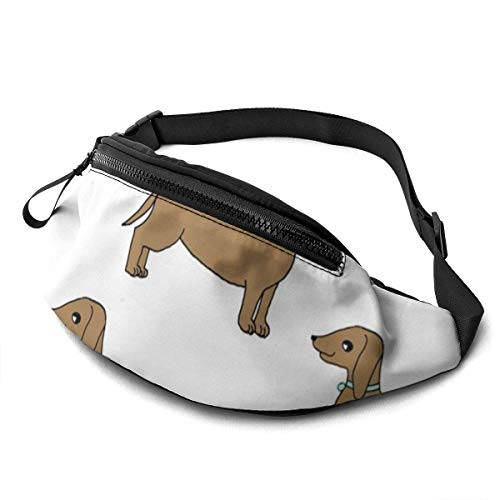Unisex Casual Waist Bag Doxie Cute Dog Pet Dog Dachshund Wiener Dog Weiner Dog Sweet Pet Dog Adorable Sausage Dog Fanny Pack Money Bum Bag with Adjustable Belt for Running Sports Climbing Travel