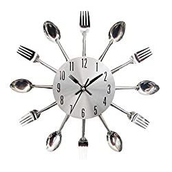 Amazlife Kitchen Wall Clock, Kitchen Cutlery Wall Clock with Forks and Spoons 3D Removable Modern Creative Wall Clock for Home Room Decor and Nice Gifts (Silver)