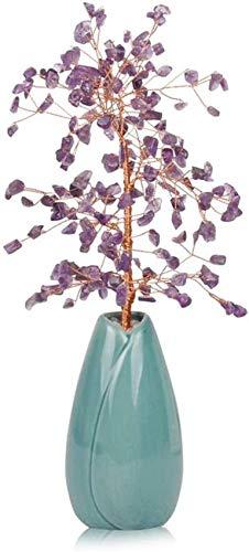 Pillowcase Bonsai Money Tree Feng Shui Crystal Money Tree Decoración de Estilo Bonsai para Regalos de Apertura de Riqueza y Suerte Navidad (Color: Azul)
