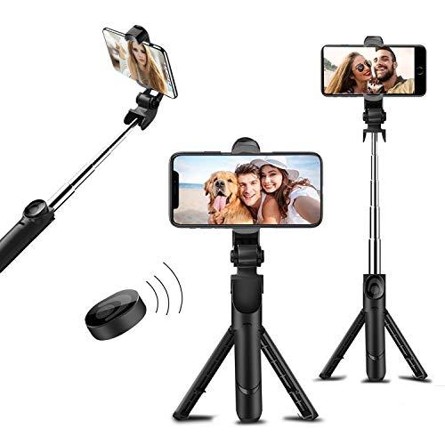 Patases 3-in-1 Bluetooth selfie-stok met afneembare draadloze afstandsbediening raam laden uitbreidbare statief standplaats 360 graden draaibare telefoonhouder werkt met iPhone voor de meeste smartphones.