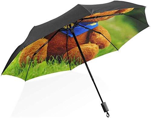 Paraguas de viaje compacto con marco reforzado a prueba de viento y girasoles de peluche y paraguas portátil para mujeres y hombres