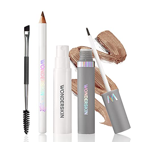 Wonderskin Wonder Blading Perfect Brow Tint Kit has a Long-Lasting Waterproof Brow Masque and Touch-Up Pomade Pencil. Alcohol-Free Microblading Alternative with Natural-Looking Results (Blonde)