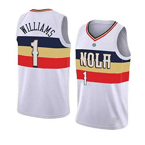 KJUY Jersey para Hombre y Mujer, New Orleans Pelicans Zion Williamson # 1 Uniforme de Baloncesto, Jersey Retro sin Mangas Transpirable Bordado de Malla